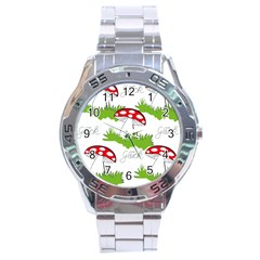 Mushroom Luck Fly Agaric Lucky Guy Stainless Steel Analogue Watch by Nexatart