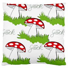Mushroom Luck Fly Agaric Lucky Guy Large Cushion Case (one Side) by Nexatart