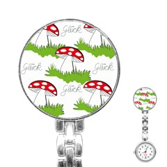 Mushroom Luck Fly Agaric Lucky Guy Stainless Steel Nurses Watch by Nexatart