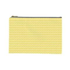 Pattern Yellow Heart Heart Pattern Cosmetic Bag (large)  by Nexatart