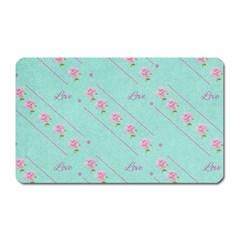 Flower Pink Love Background Texture Magnet (rectangular) by Nexatart