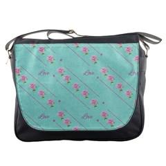 Flower Pink Love Background Texture Messenger Bags by Nexatart