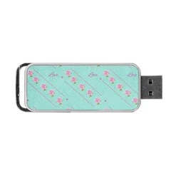 Flower Pink Love Background Texture Portable Usb Flash (two Sides) by Nexatart