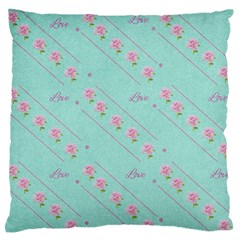 Flower Pink Love Background Texture Large Flano Cushion Case (two Sides) by Nexatart