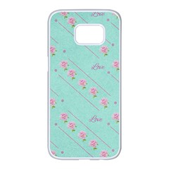 Flower Pink Love Background Texture Samsung Galaxy S7 Edge White Seamless Case