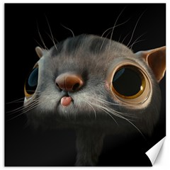 Big Eyes Doofy Cartoon Cat Canvas 16  x 16   by TailWags