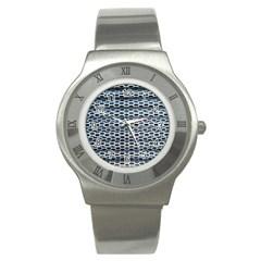 Texture Pattern Metal Stainless Steel Watch by Nexatart