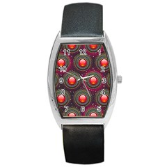 Abstract Circle Gem Pattern Barrel Style Metal Watch by Nexatart