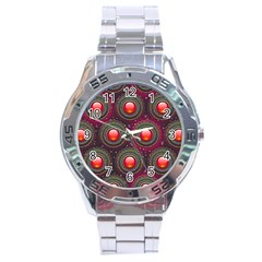 Abstract Circle Gem Pattern Stainless Steel Analogue Watch by Nexatart