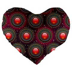 Abstract Circle Gem Pattern Large 19  Premium Heart Shape Cushions by Nexatart