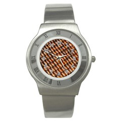 Dirty Pattern Roof Texture Stainless Steel Watch by Nexatart