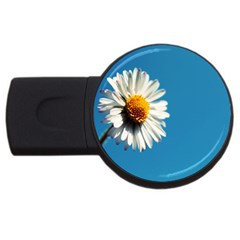 Daisy On Blue USB Flash Drive Round (4 GB) by TailWags