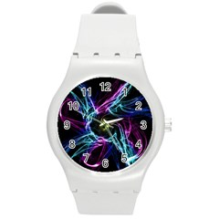 Abstract Art Color Design Lines Round Plastic Sport Watch (m) by Nexatart