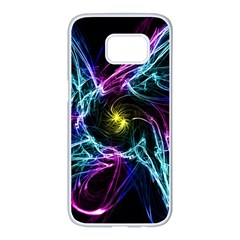 Abstract Art Color Design Lines Samsung Galaxy S7 Edge White Seamless Case by Nexatart