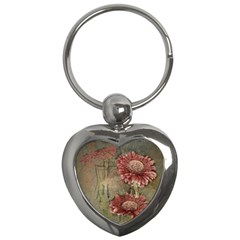 Flowers Plant Red Drawing Art Key Chains (heart)  by Nexatart