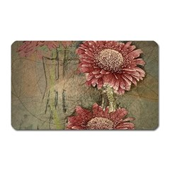 Flowers Plant Red Drawing Art Magnet (rectangular) by Nexatart
