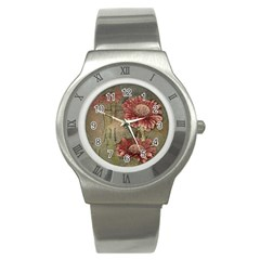 Flowers Plant Red Drawing Art Stainless Steel Watch by Nexatart