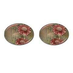 Flowers Plant Red Drawing Art Cufflinks (oval) by Nexatart