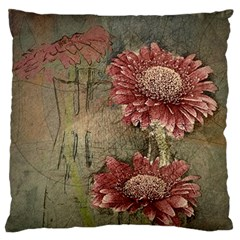 Flowers Plant Red Drawing Art Large Flano Cushion Case (one Side) by Nexatart