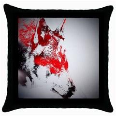 Red Black Wolf Stamp Background Throw Pillow Case (black) by Nexatart