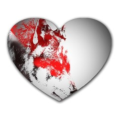 Red Black Wolf Stamp Background Heart Mousepads by Nexatart