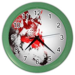 Red Black Wolf Stamp Background Color Wall Clocks by Nexatart