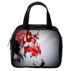 Red Black Wolf Stamp Background Classic Handbags (one Side) by Nexatart