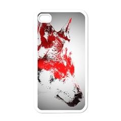 Red Black Wolf Stamp Background Apple iPhone 4 Case (White)