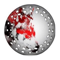 Red Black Wolf Stamp Background Ornament (round Filigree) by Nexatart