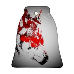 Red Black Wolf Stamp Background Bell Ornament (two Sides) by Nexatart