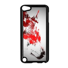 Red Black Wolf Stamp Background Apple Ipod Touch 5 Case (black) by Nexatart