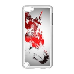 Red Black Wolf Stamp Background Apple Ipod Touch 5 Case (white) by Nexatart