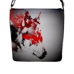 Red Black Wolf Stamp Background Flap Messenger Bag (l)  by Nexatart