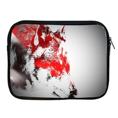 Red Black Wolf Stamp Background Apple Ipad 2/3/4 Zipper Cases