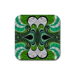 Fractal Art Green Pattern Design Rubber Square Coaster (4 Pack)  by Nexatart