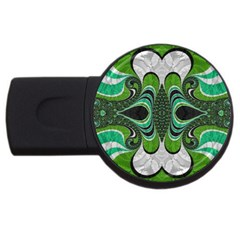 Fractal Art Green Pattern Design Usb Flash Drive Round (2 Gb) by Nexatart