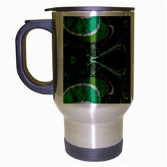 Fractal Art Green Pattern Design Travel Mug (silver Gray) by Nexatart
