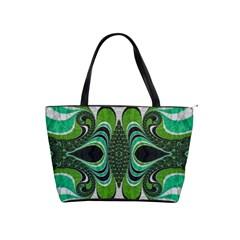 Fractal Art Green Pattern Design Shoulder Handbags by Nexatart