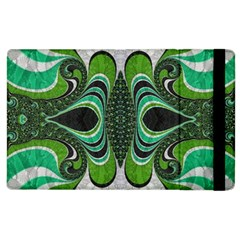 Fractal Art Green Pattern Design Apple Ipad 2 Flip Case by Nexatart
