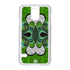 Fractal Art Green Pattern Design Samsung Galaxy S5 Case (white) by Nexatart