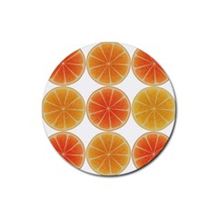 Orange Discs Orange Slices Fruit Rubber Round Coaster (4 Pack)