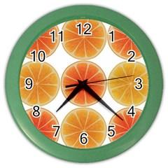Orange Discs Orange Slices Fruit Color Wall Clocks by Nexatart