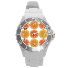 Orange Discs Orange Slices Fruit Round Plastic Sport Watch (l) by Nexatart