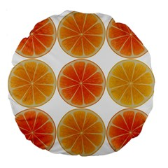 Orange Discs Orange Slices Fruit Large 18  Premium Flano Round Cushions by Nexatart