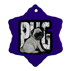 Pug Snowflake Ornament (two Sides) by Valentinaart