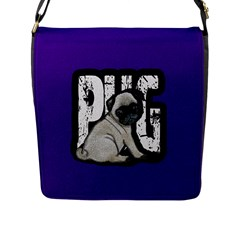 Pug Flap Messenger Bag (l)  by Valentinaart