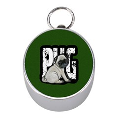 Pug Mini Silver Compasses by Valentinaart