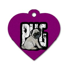 Pug Dog Tag Heart (one Side) by Valentinaart