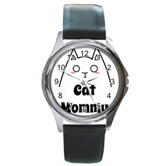 Love My Cat Mommy Round Metal Watch by Catifornia