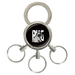 Pug 3 Ring Key Chains by Valentinaart
